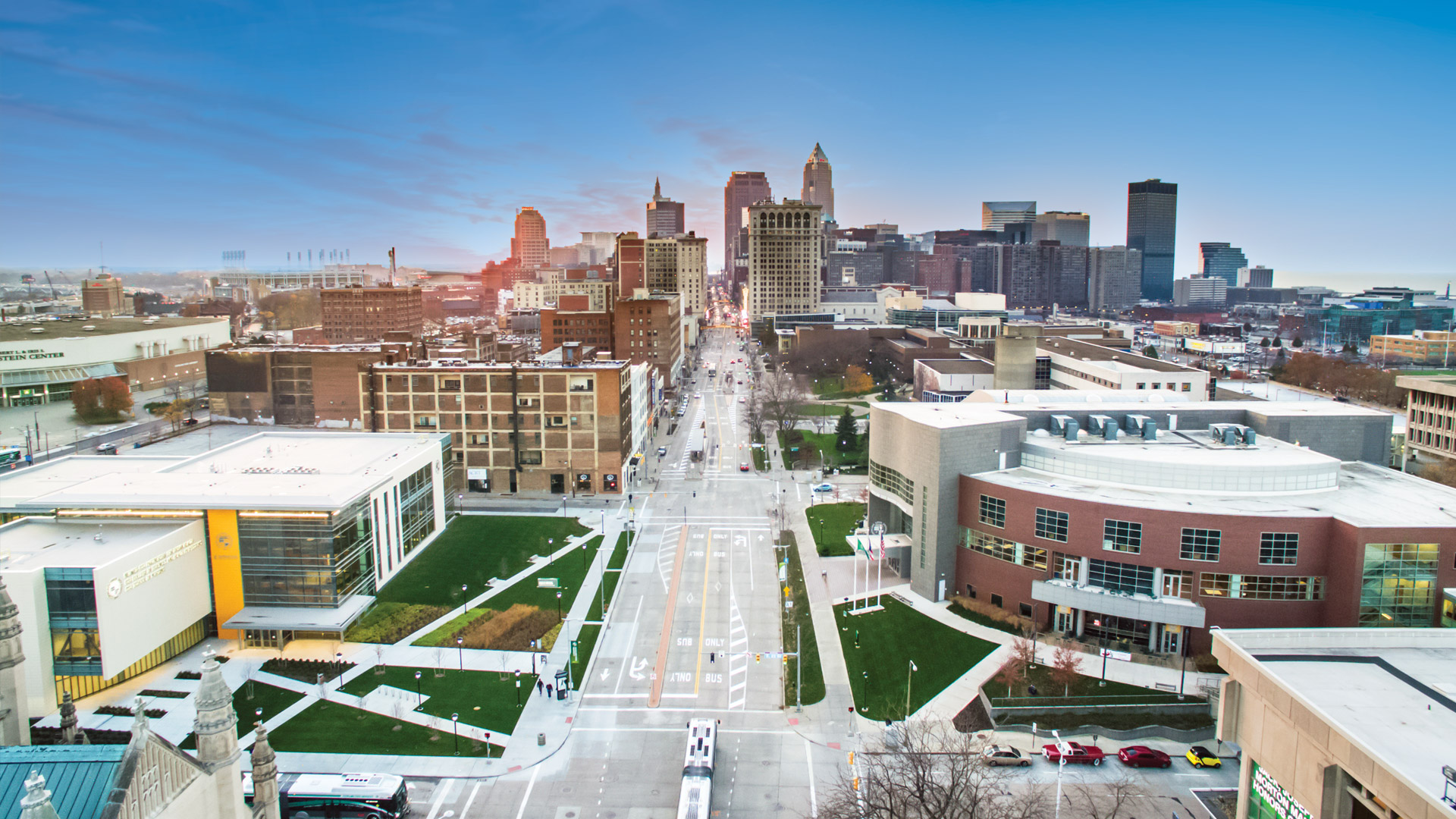 Ariel view of CSU campus in downtown Cleveland