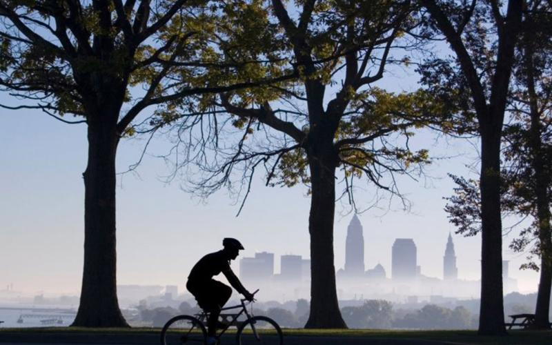 Photo of cyclist at Edgewater Park in Cleveland