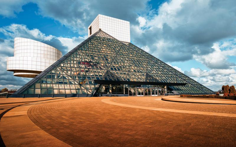 Exterior shot of the Rock & Roll Hall of Fame on Cleveland's lakeshore