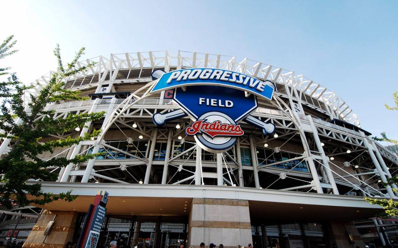 Exterior photo of Progressive Field, where the MBL's Cleveland Indians play