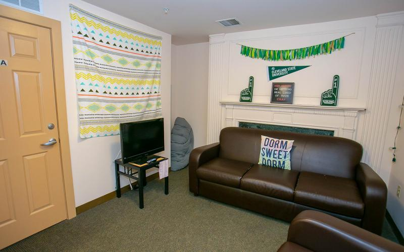 Photo of a living room in the Fenn Tower residence hall